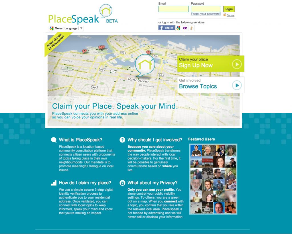 PlaceSpeak Home Page Sceenshot