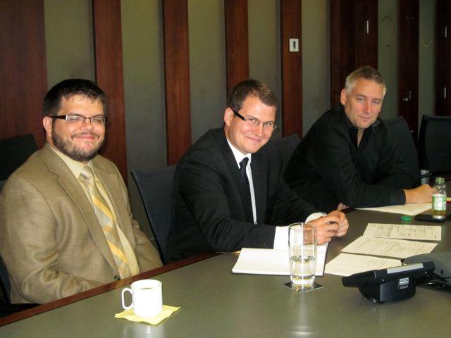 Yuri Artibise, Justen Harcourt and Ross Paul at PlaceSpeak's September Board Meeting