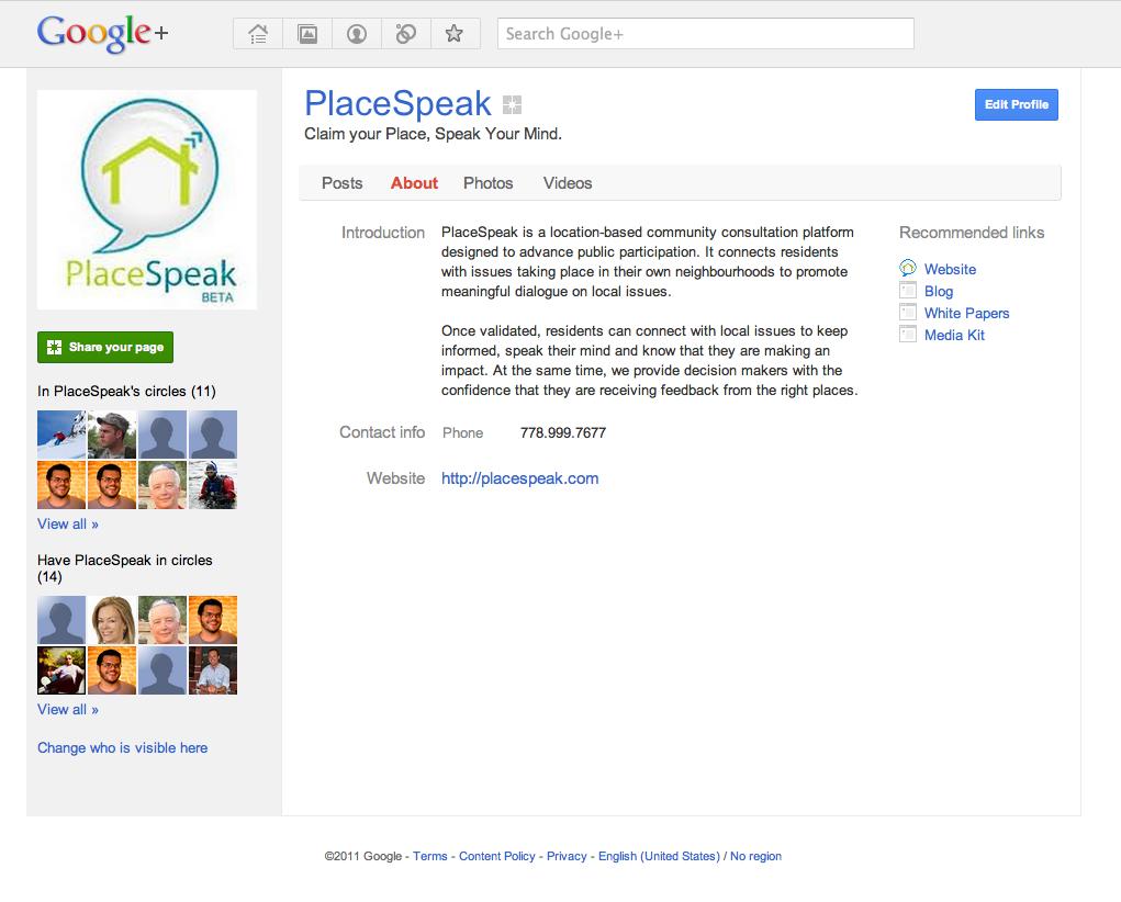 Screenshot of PlaceSpeak's Google Plus page