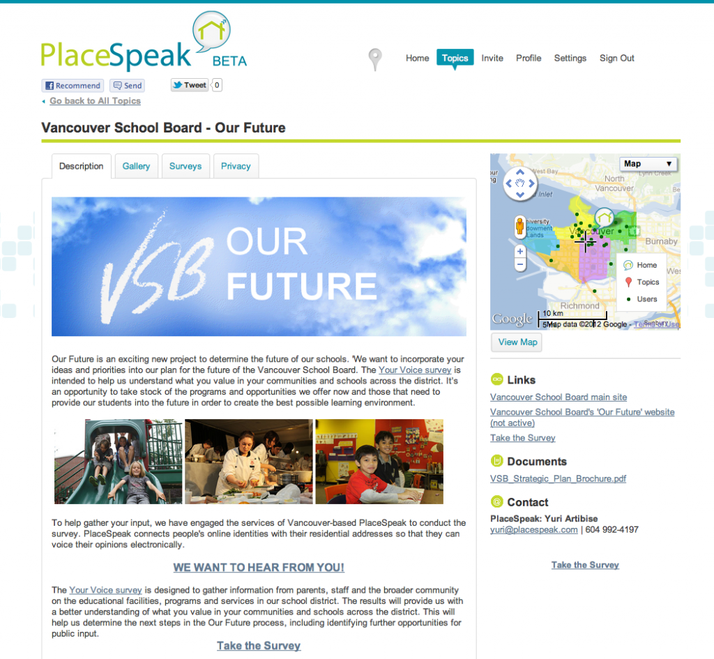 Screenshot of the Vancouver School Board - Our Future PlaceSpeak page
