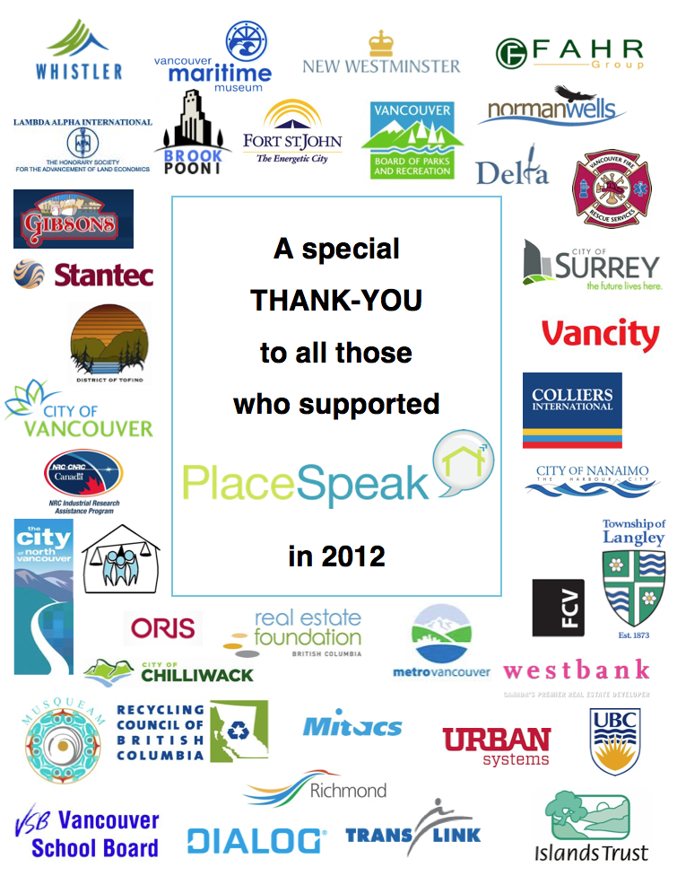 A special THANK-YOU to all those who supported PlaceSpeak in 2012