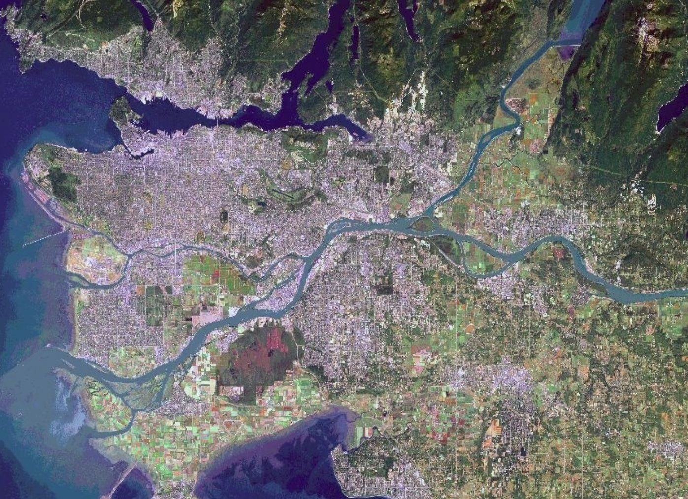 A satellite image of the metro Vancouver region