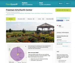 Freeman Arts/Earth Center PlaceSpeak Page