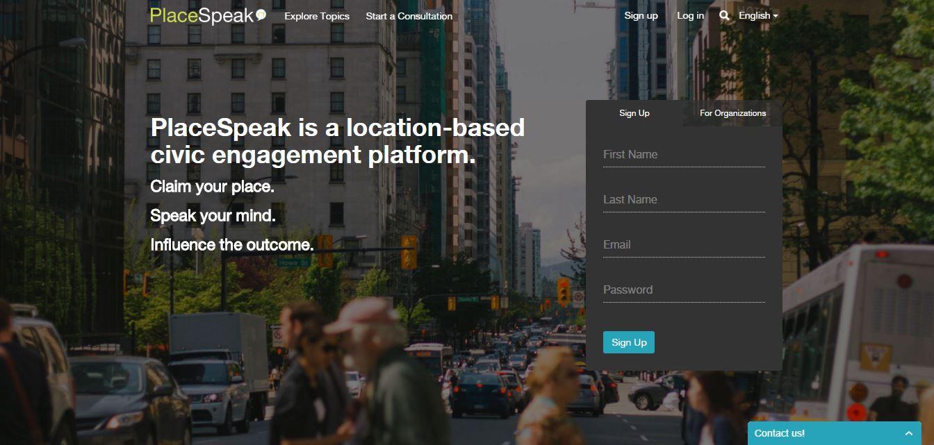 PlaceSpeak homepage