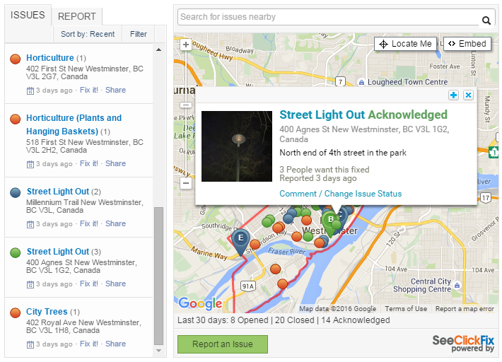 Example of a city using SeeClickFix. Issue has been seen/acknowledged and is awaiting closure.